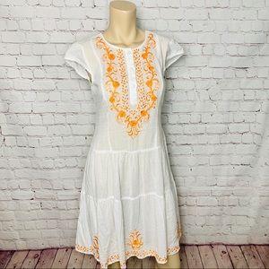 ESHAKTI White Boho Dress Floral Embroidery NWOT!